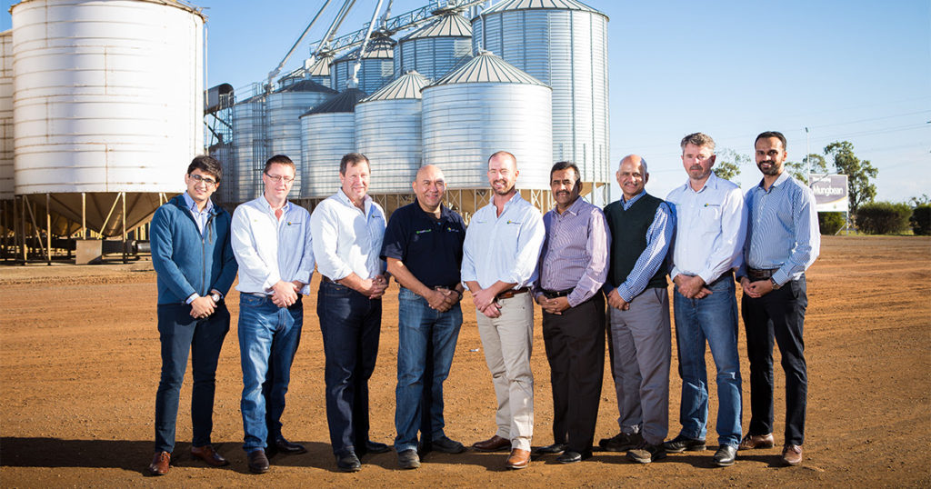 Left to right: Vishal Vijay (co-owner), Shane Mathieson (grain trader/operations) , Mark Schmidt (grain manager), Saul Martinez (production manager), Todd Jorgensen (CEO), Ravi Raghavan (co-owner), Vijay Iyengar (co-owner), Geoff Birch (seed manager), Bhuvan Gandhi (director).